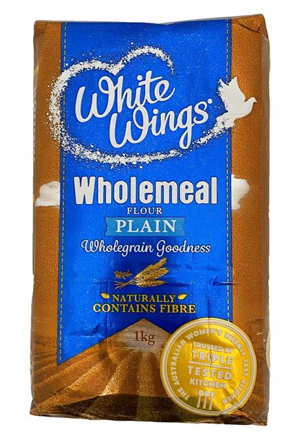 Picture of WHITE WINGS WHOLEMEAL PLAIN FLOUR 1KG