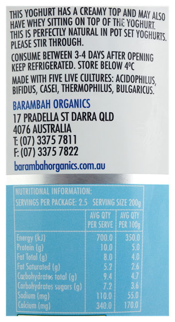 Picture of BARAMBAH ALL NATURAL YOGHURT 500g
