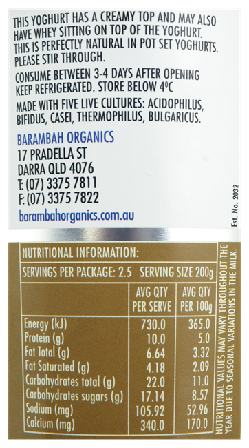 Picture of BARAMBAH BUSH HONEY YOGHURT